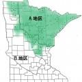 五大湖西岸:緑腺は境界、緑はオオカミ生存地
